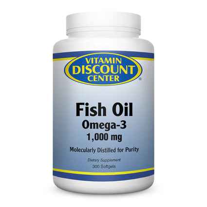 Omega 3 Fish Oil 1000mg by Vitamin Discount Center - 300 Softgels