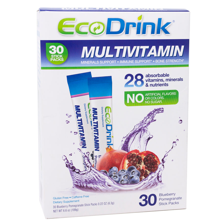 Multivitamin & Minerals Drink Mix By Eco Drink - 30 Blueberry Pomegranate Packet