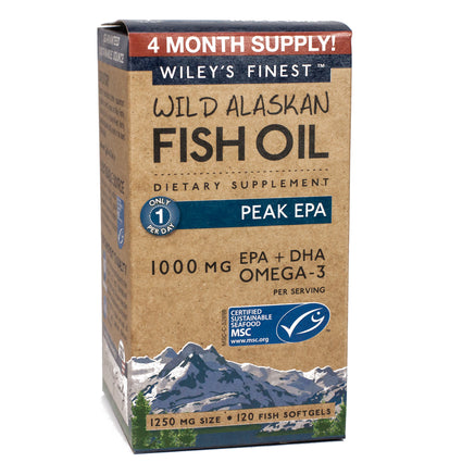 1000MG EPA Plus DHA Omega-3 by Wiley's Finest Wild Alaskan Fish Oil 120 Softgels