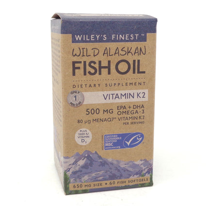 Wild Alaskan Fish Oil With K2 By Wileys Finest - 60 Softgels
