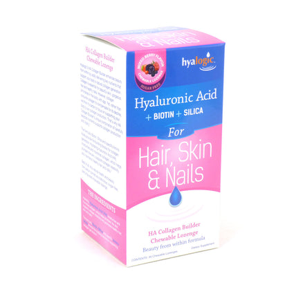 Hyalogic Hyaluronic Acid Biotin Silica Berry Flavor - 30 Chewable Lozenges