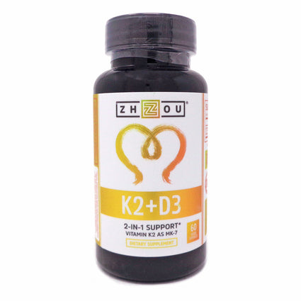 Zhou Nutrition K2 with Vitamin D3 60 Capsules