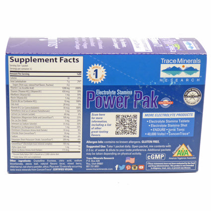 Electrolyte Stamina Power Pack Acai Berry By Trace Minerals Research 32 Packs