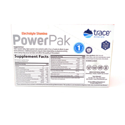 Trace Minerals Power Pak Sugar Free Citrus Flavor- 30 Packets