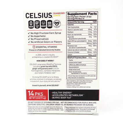 CELSIUS On-the-Go Powder Stick (Cranberry Lemon) - 14 Servings