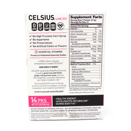 Celsius Live Fit Dragon Fruit Lime Powder - 14 Servings