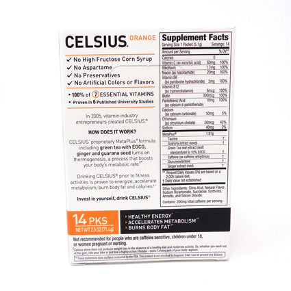 Celsius Stick Packs Outrageous Orange - 14 Servings