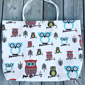 WEEKENDER Large Canvas Tote - Brown Owls
