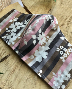 Cotton Face Mask - Retro floral and stripes