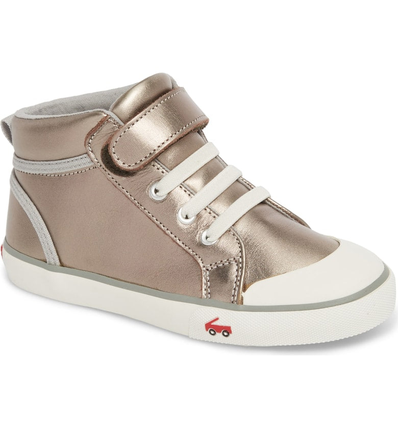 Peyton Metallic Mid Top Sneaker - Pewter Leather