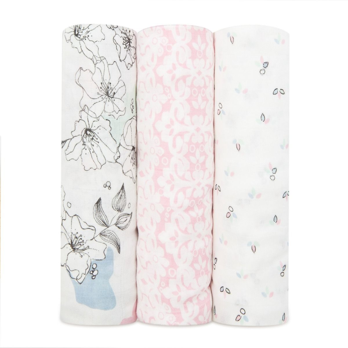 Aden and Anais Metallic Primrose Birch silky soft swaddle 3-pack