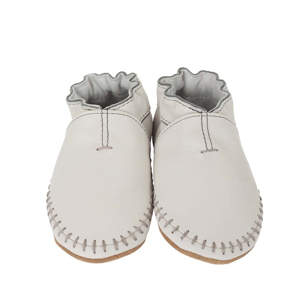 Robeez Premium Leather Moccasins Grey Soft Soles