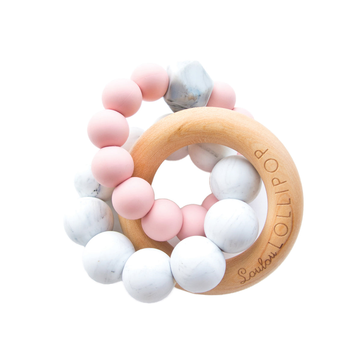 Bubble Silicone and Wood Teether -  TEA ROSE