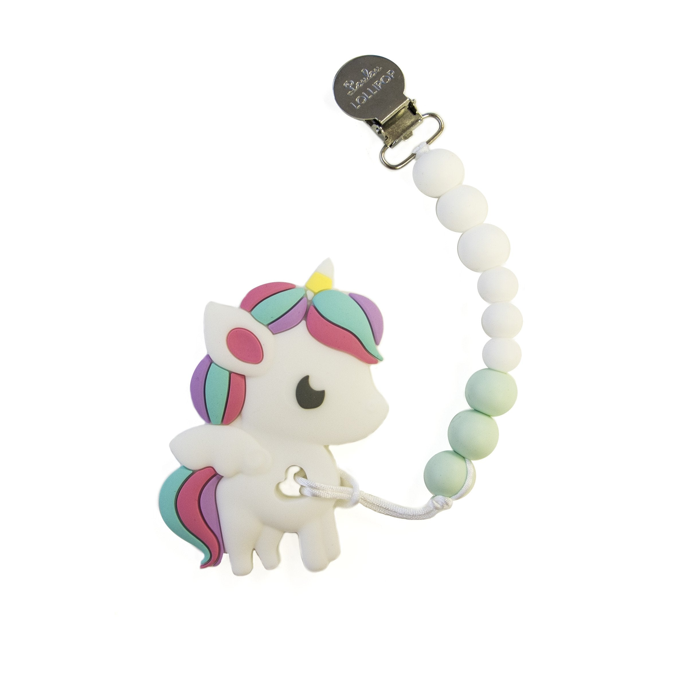 RAINBOW UNICORN SILICONE TEETHER HOLDER SET - WHITE MINT