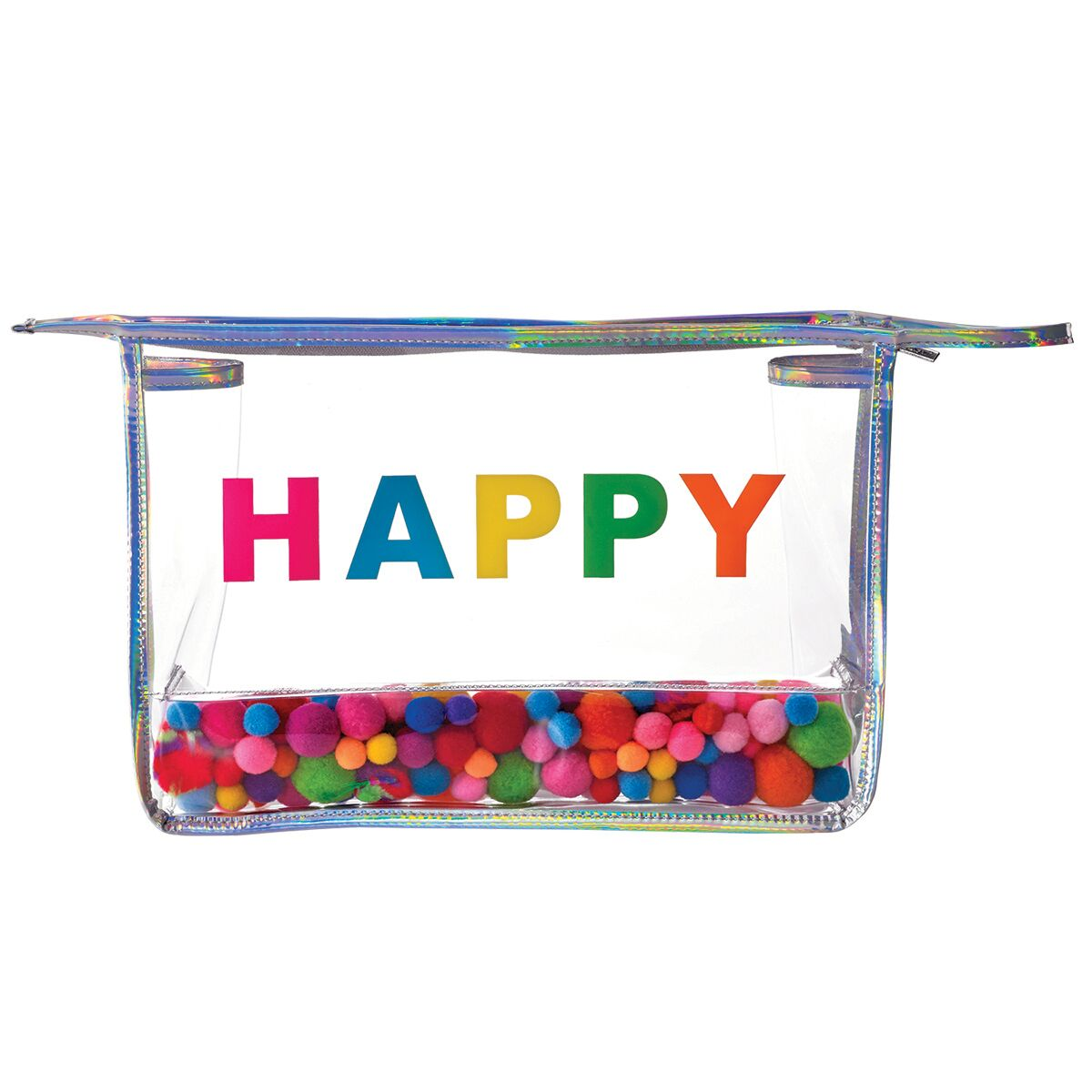 Happy Pom Poms Clear Travel Bag