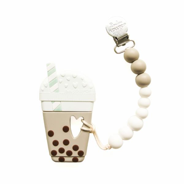 Bubble Milk Tea Silicone Teether Holder Set - Taupe
