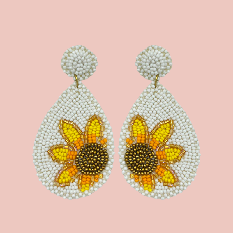 Hand Beaded Hanging Flower Earrings