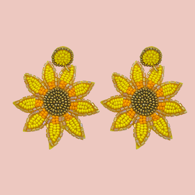 Hand Beaded Sunflower Earrings