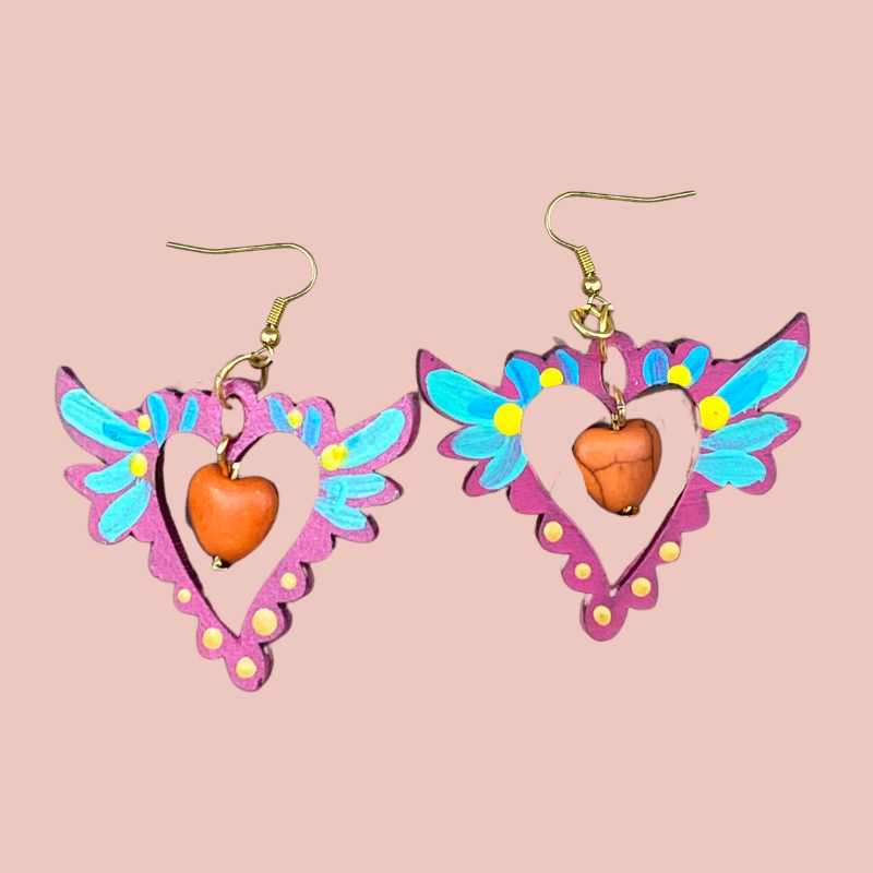 Hand Painted Wood Earrings - Hearts