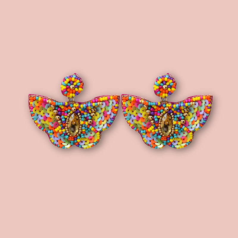 Beaded Multicolor Hanging Butterfly Earrings