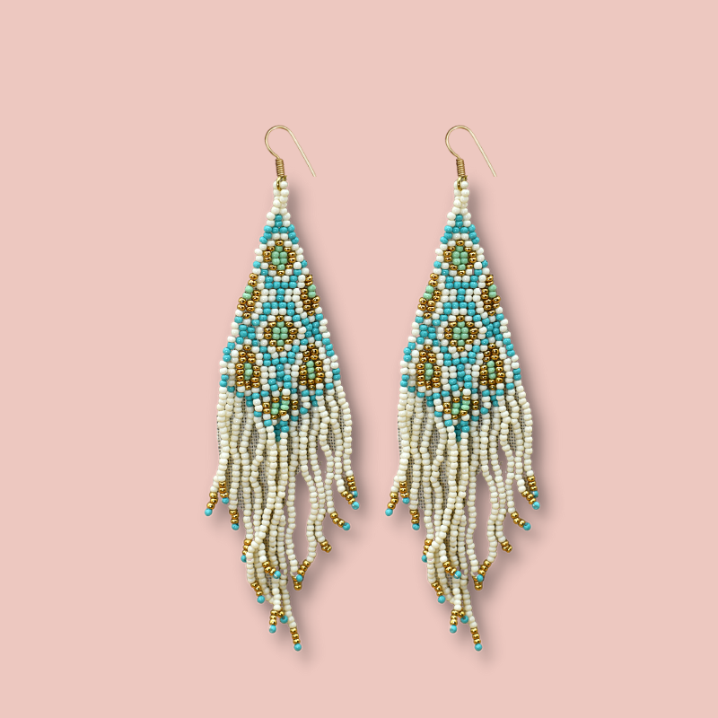 Hand Beaded Hanging Statement Earrings