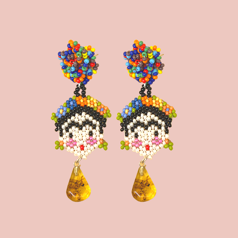 Handmade Beaded Frida Earrings