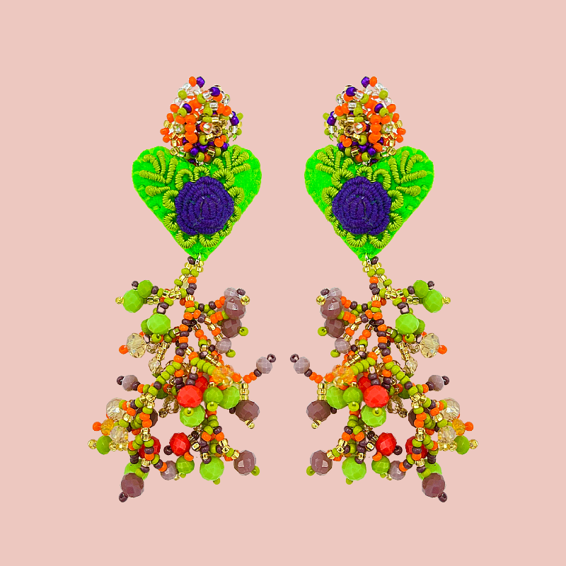 Hand Beaded & Embroidered Hanging Heart Earrings: Under the Sea Collection