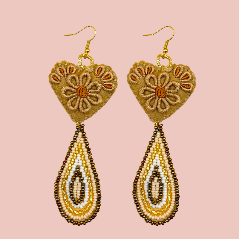 Hand Beaded & Embroidered Hanging Heart Earrings