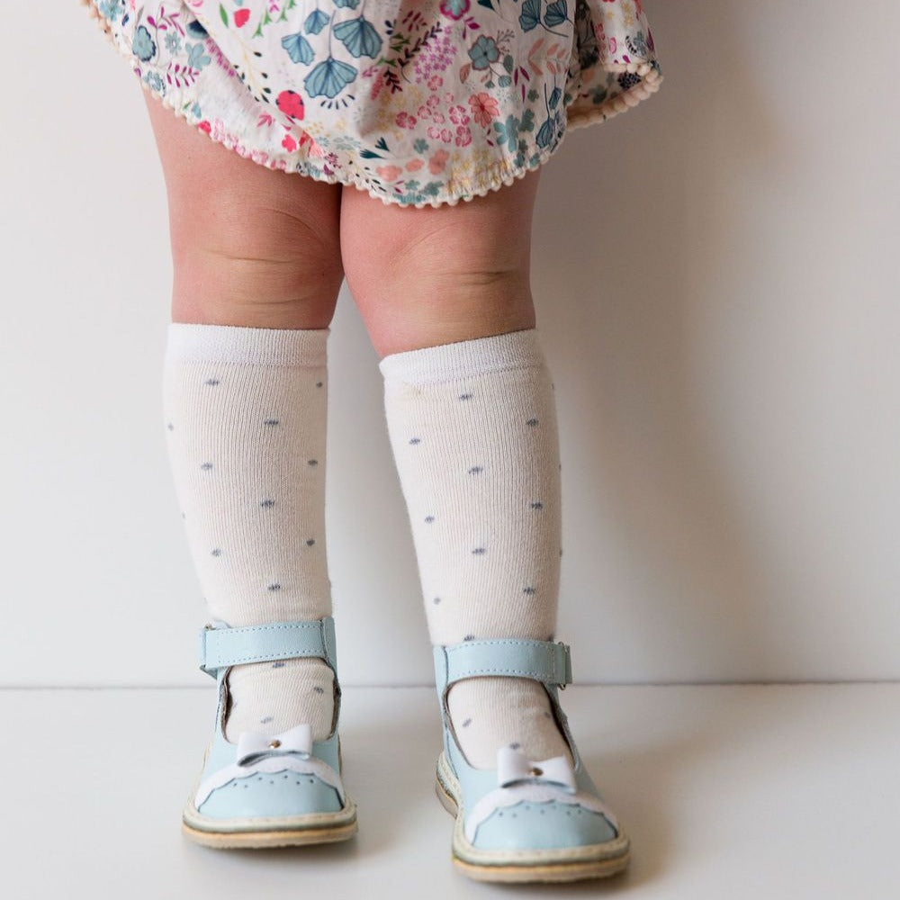 Knee high socks  Cream Polka Dot