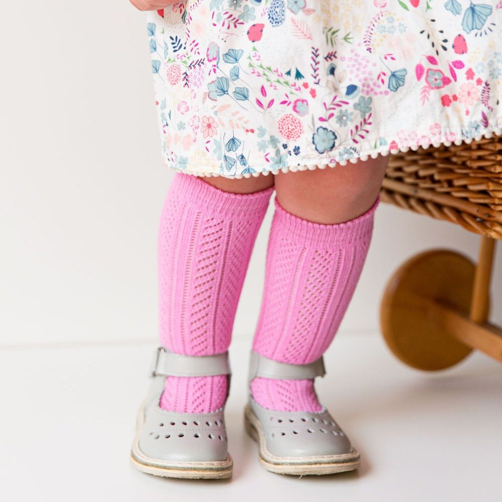 Knee high socks crochet Hot pink.
