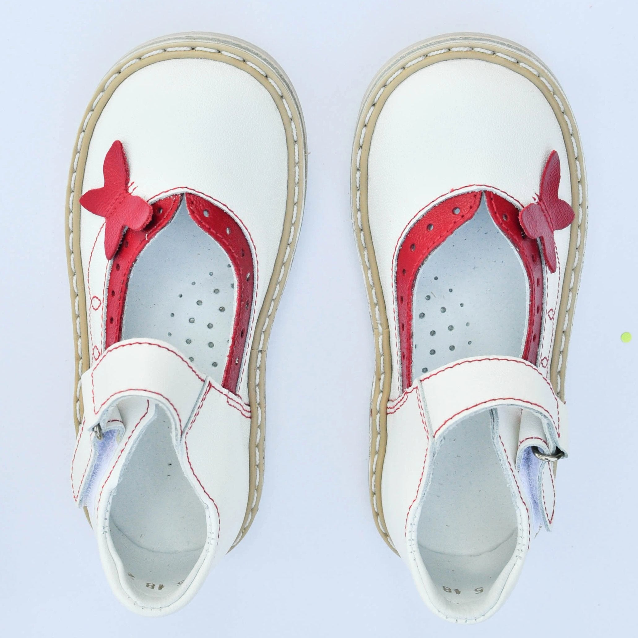 Butterfly Mary Janes White/red