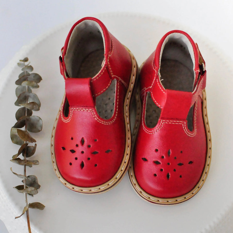 Mary Jane Infant Christmas Shoes Black w// Red Snowflakes.
