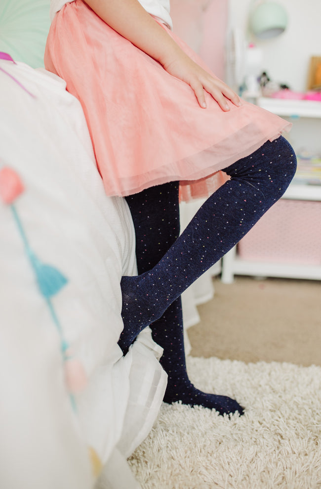Solid stockings. Navy with colorful specks.
