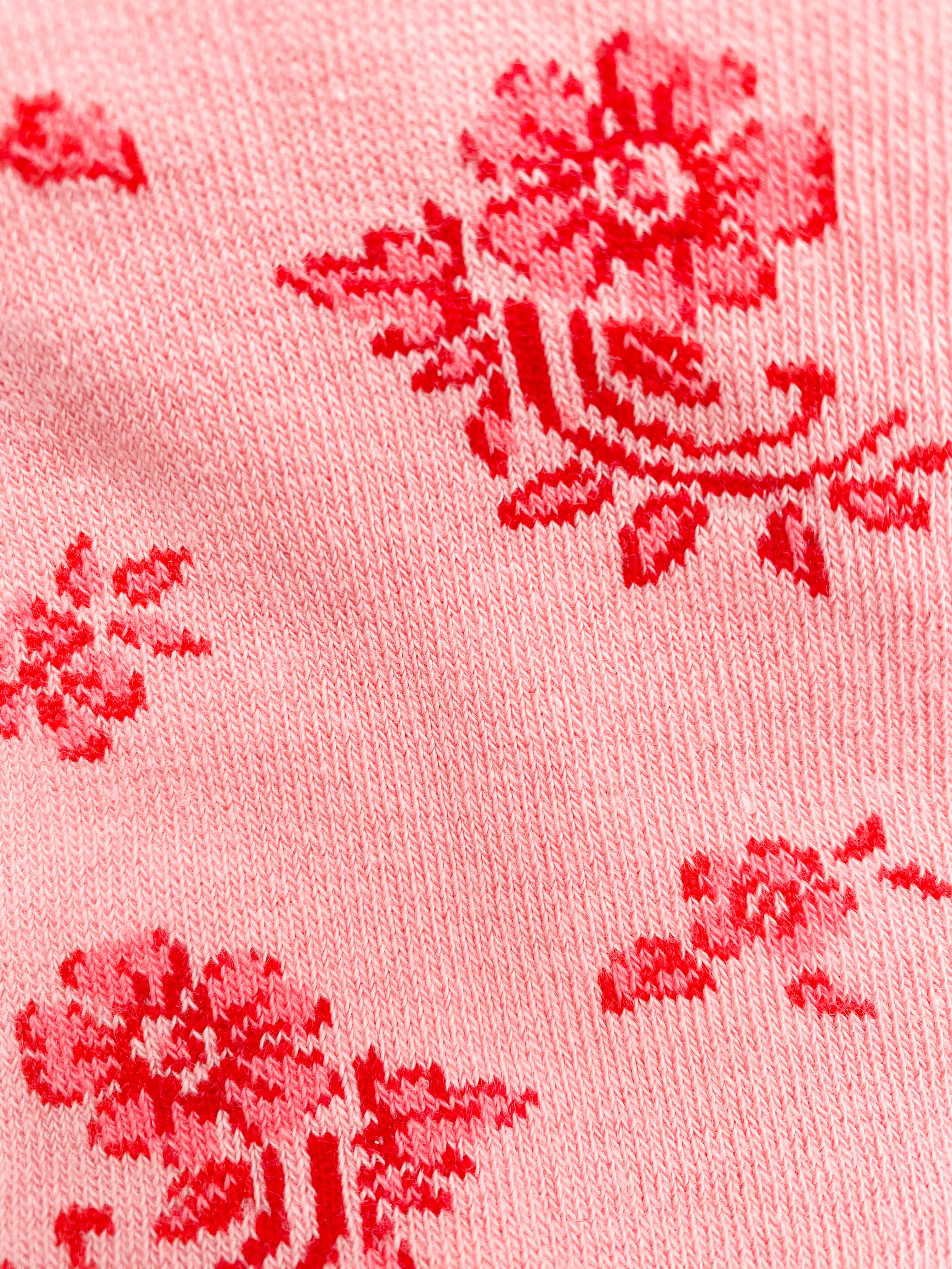 Floral print stockings. Coral.