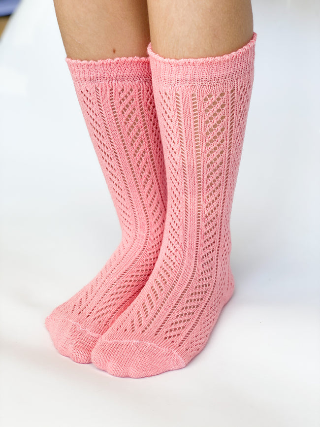 Knee high socks crochet Coral