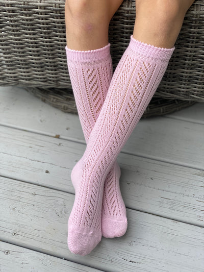 Knee high socks crochet Baby Pink