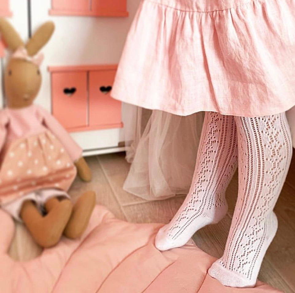 Crochet stockings.  White