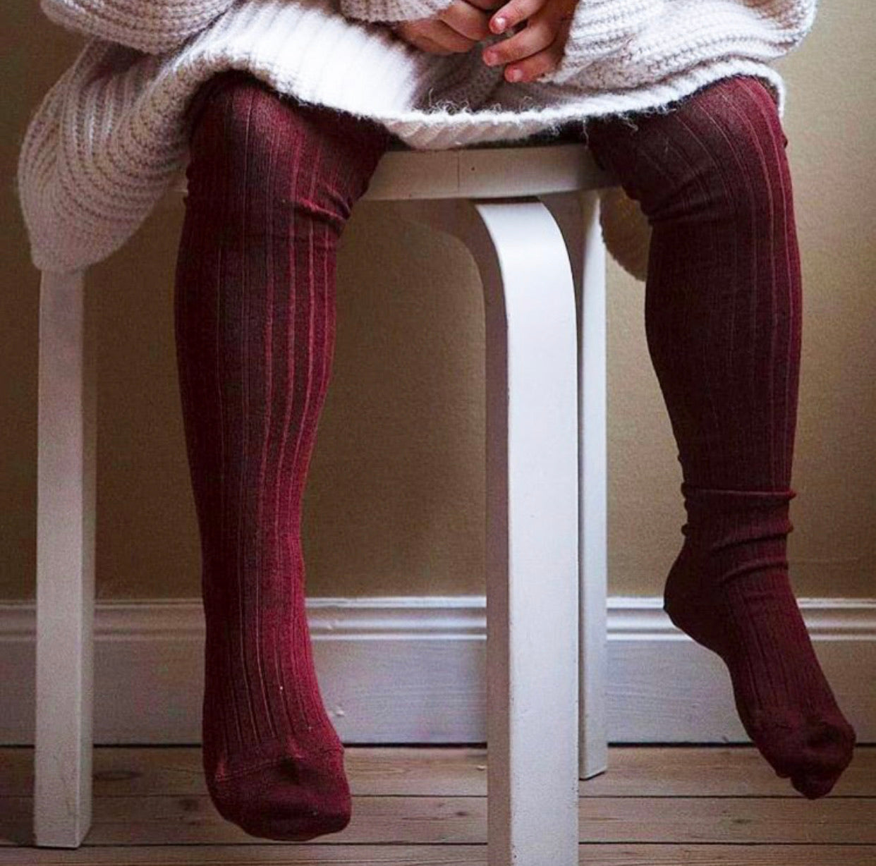 Ribbed stockings.  Cranberry