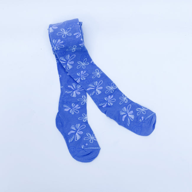 Floral print stockings. Light blue