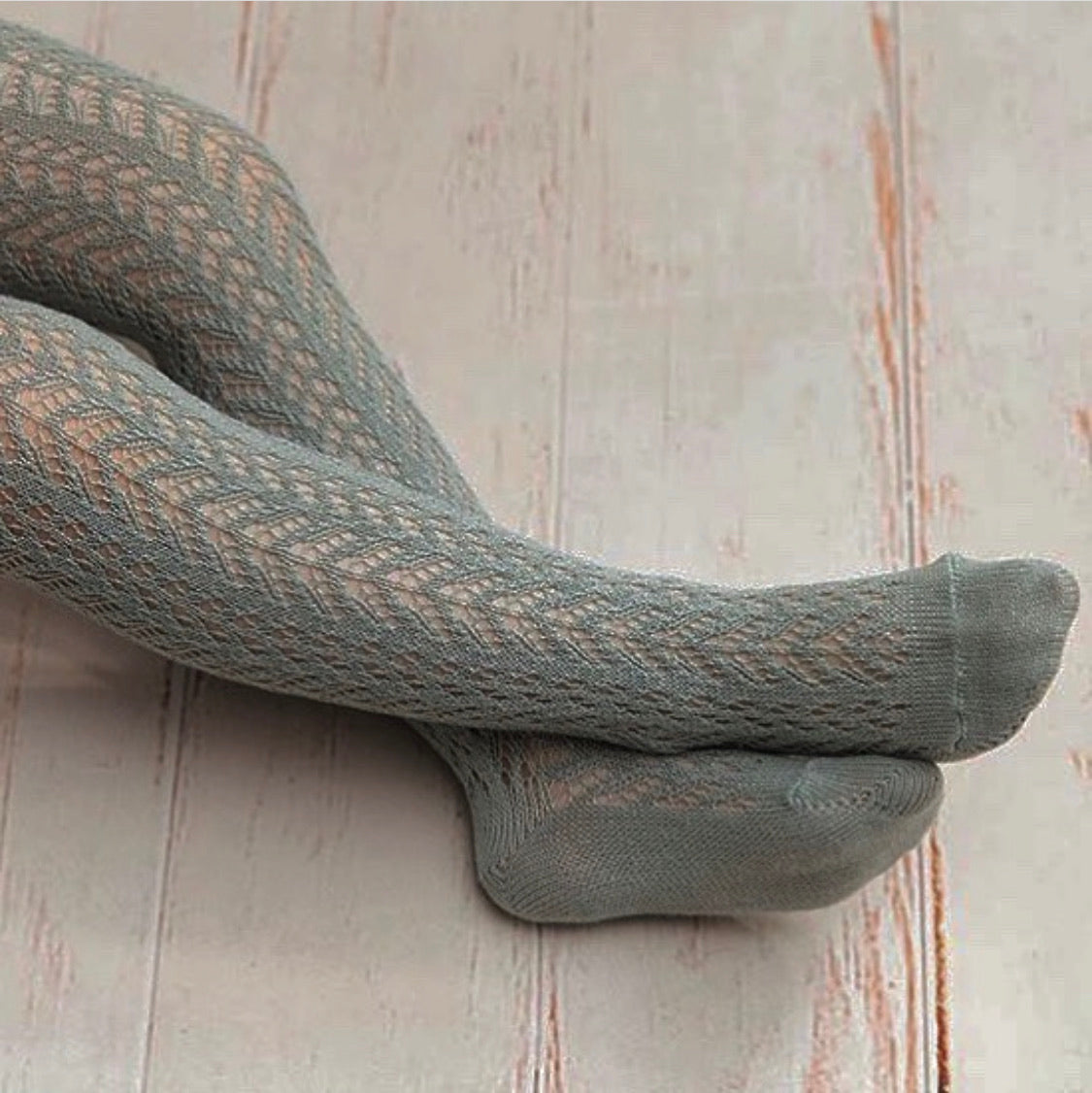 Crochet stockings.  Grey