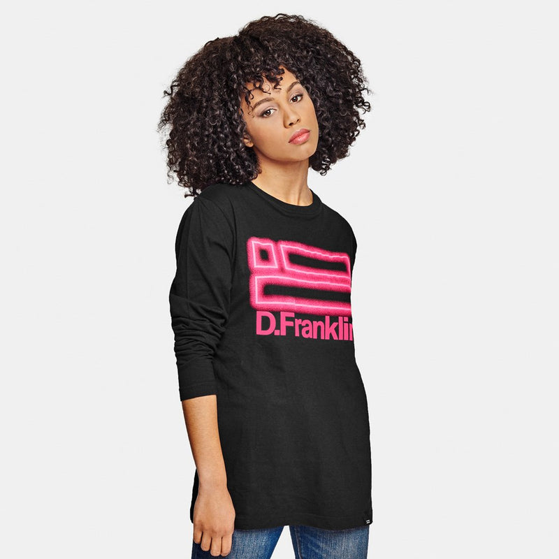 Neon Long Sleeve T-Shirt Black / Pink