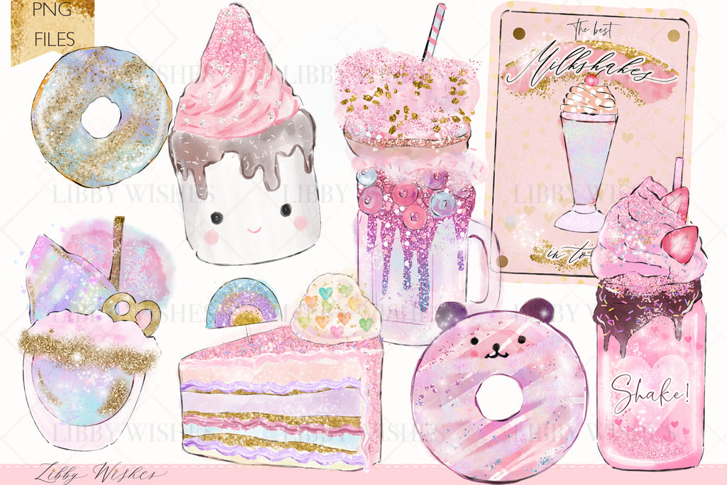 Dessert cafe Clipart set