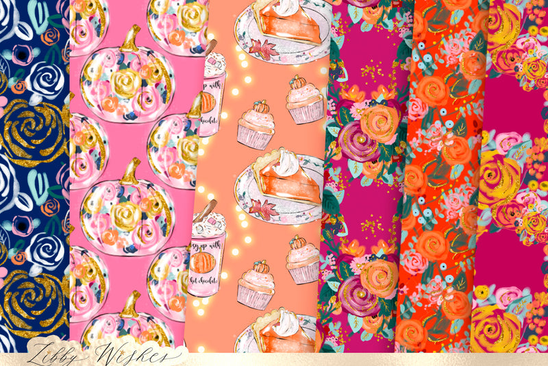 Cosy autumn Fall digital seamless Paper set
