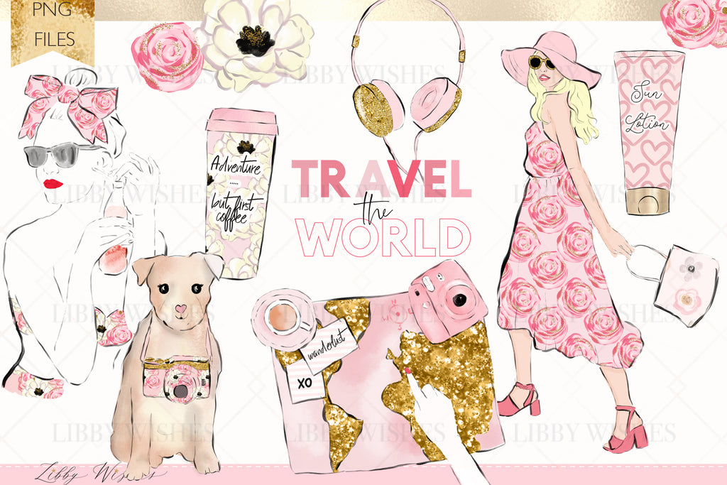 "Travel Fashion Clipart set ""Wanderlust pastels"""