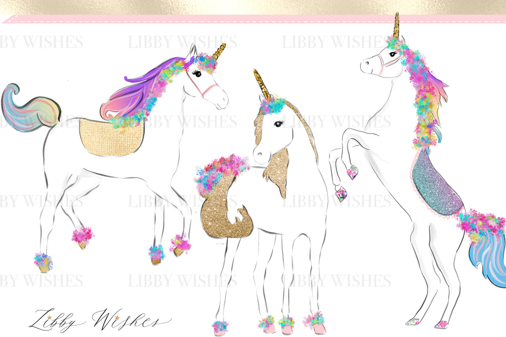 "Unicorn Clipart ""Princess dream Unicorns"""