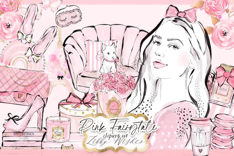My Pink Fairytale Clipart set