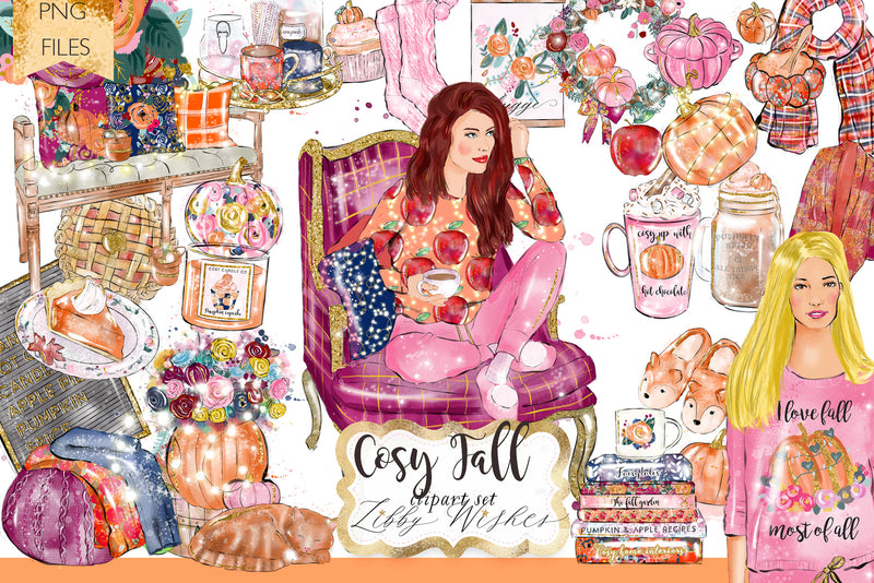 Cosy Fall Autumn Clipart set