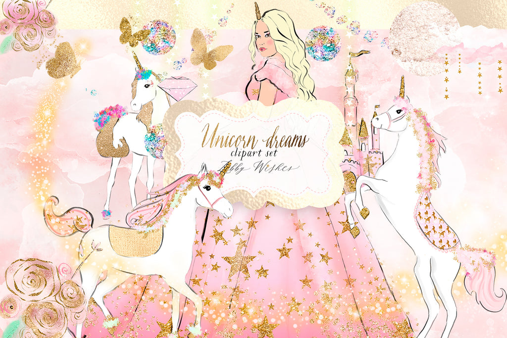 "Unicorn Clipart ""Princess dream Unicorns""- Pink colourway"