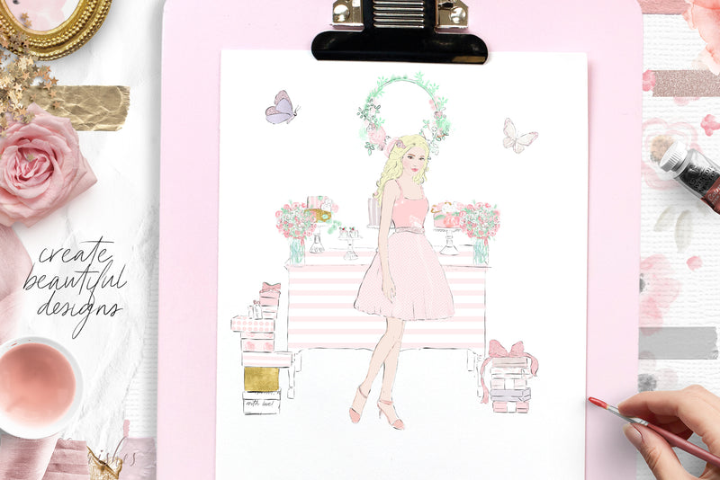 Spring Garden Fashion Clip art set