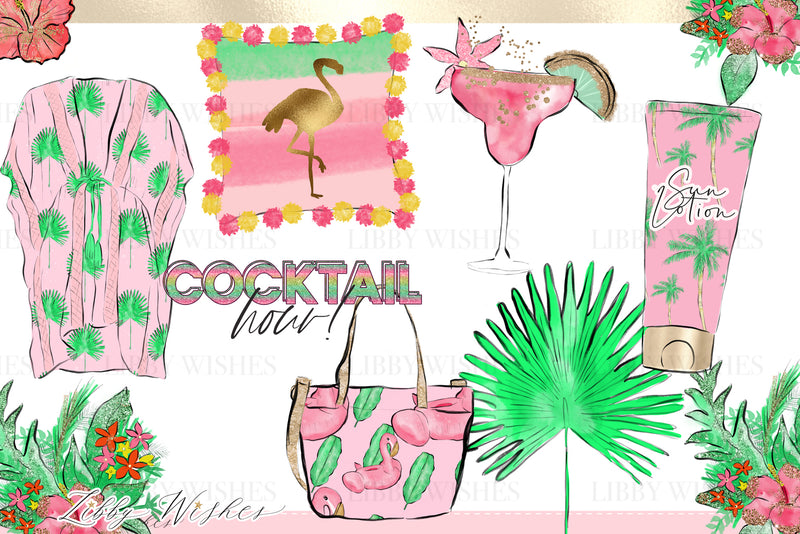 Palm springs tropical holiday Fashion Clipart